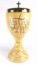 Picture of Liturgical Ciborium H. cm 20 (7,9 inch) stylized Cross in Olive Wood of Assisi