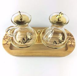 Picture of Water and Wine liturgical Cruet Set Olive Leaves in Olive Wood of Assisi