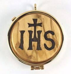 Picture of Eucharistic Pyx Sacred Hosts Vessel Diam. cm 5 (2,0 inch) IHS Symbol in Gold plated Brass and Olive Wood of Assisi