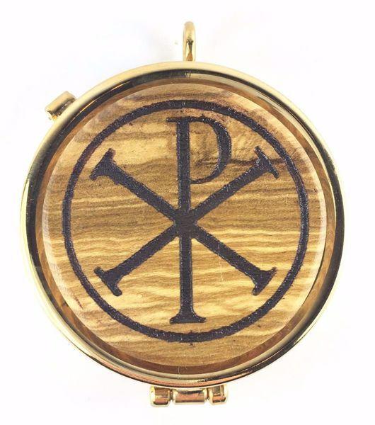Immagine di Teca eucaristica Viatico Scatola per Ostie Diam. cm 5 (2,0 inch) Simbolo Pax in Ottone dorato e Legno di Ulivo di Assisi