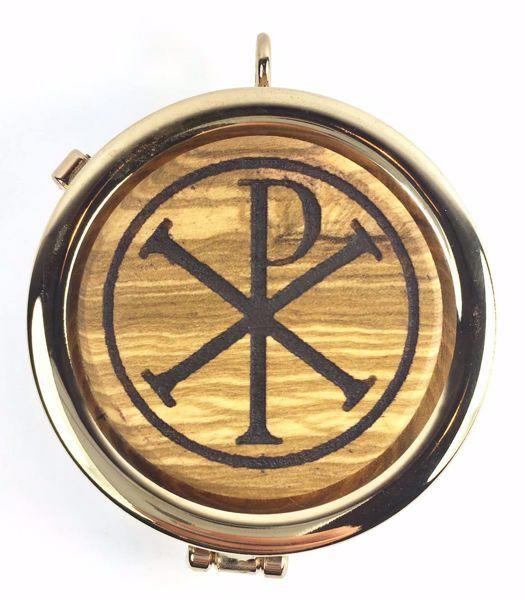 Immagine di Teca eucaristica Viatico Scatola per Ostie Diam. cm 6 (2,4 inch) Simbolo Pax in Ottone dorato e Legno di Ulivo di Assisi