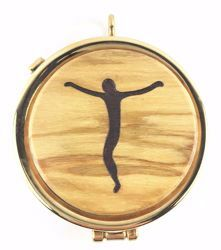 Picture of Eucharistic Pyx Hosts Box Diam. cm 5 (2,0 inch) Christ crucified in Gold plated Brass and Olive Wood of Assisi