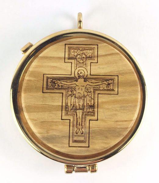Immagine di Teca eucaristica Viatico Scatola porta Ostie Diam. cm 5 (2,0 inch) Croce di San Damiano in Ottone dorato e Legno di Ulivo di Assisi