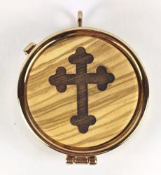 Picture of Eucharistic Pyx Hosts Box Diam. cm 5 (2,0 inch) stylized Cross in Gold plated Brass and Olive Wood of Assisi
