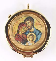 Picture of Eucharistic Pyx Hosts Box Diam. cm 5 (2,0 inch) Holy Family in Gold plated Brass and Olive Wood of Assisi