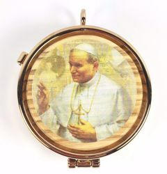 Picture of Eucharistic Pyx Hosts Box Diam. cm 5 (2,0 inch) Saint John Paul II in Gold plated Brass and Olive Wood of Assisi