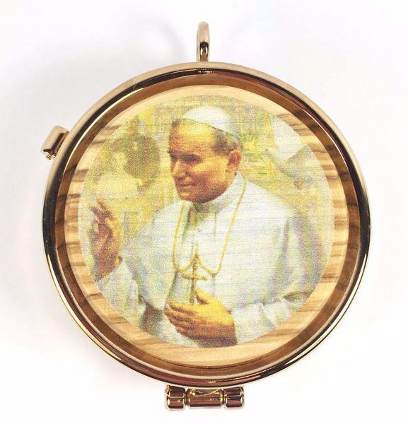 Imagen de Caja de Formas Portaviático para Partículas Diám. cm 5 (2,0 inch) San Juan Pablo II de Latón dorado y Madera de Olivo de Asís