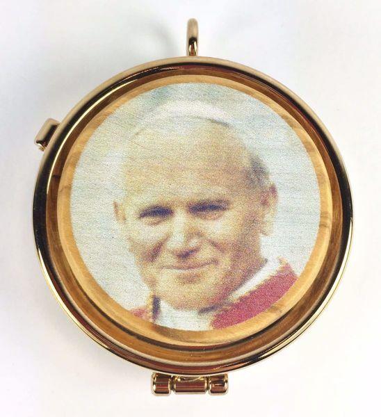 Immagine di Teca eucaristica Viatico Scatola porta Ostie Diam. cm 5 (2,0 inch) Santo Giovanni Paolo II in Ottone dorato e Legno di Ulivo di Assisi