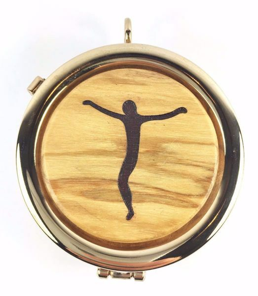 Picture of Eucharistic Pyx Hosts Box Diam. cm 6 (2,4 inch) Christ crucified in Gold plated Brass and Olive Wood of Assisi