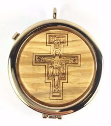 Picture of Eucharistic Pyx Hosts Box Diam. cm 6 (2,4 inch) Cross of St. Damian in Gold plated Brass and Olive Wood of Assisi