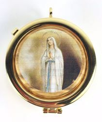Picture of Eucharistic Pyx Hosts Box Diam. cm 6 (2,4 inch) praying Virgin Mary in Gold plated Brass and Olive Wood of Assisi