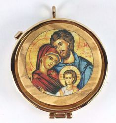 Picture of Eucharistic Pyx Hosts Box Diam. cm 6 (2,4 inch) Holy Family in Gold plated Brass and Olive Wood of Assisi