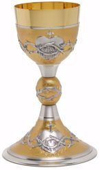 Picture of Liturgical Chalice H. cm 22,5 (8,9 inch) Sacred Heart and Crown Thorns in 800/1000 Silver Gold Silver Bicolor for Holy Mass Altar Wine