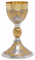 Immagine di Calice liturgico H. cm 22,5 (8,9 inch) Tralci d'Uva in Argento 800/1000 Oro Argento Bicolor da Altare per vino da Messa