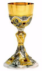 Picture of Liturgical Chalice H. cm 24 (9,4 inch) Baroque style Evangelists Red Swarovski brass with 800/1000 Silver Cup Bicolor for Altar Wine