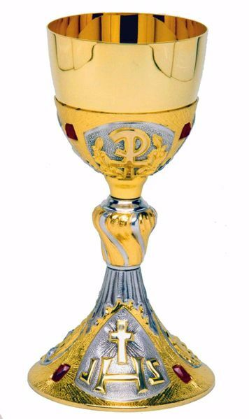 Picture of Liturgical Chalice H. cm 24 (9,4 inch) IHS Pax and Red Swarovski in brass with 800/1000 Silver Cup Bicolor for Holy Mass Altar Wine