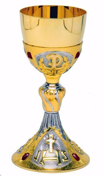 Immagine di Calice liturgico H. cm 24 (9,4 inch) IHS Pax e Swarovski Rossi ottone con Coppa in Argento 800/1000 Bicolor da Altare per vino da Messa