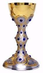 Picture of Liturgical Chalice H. cm 23,5 (9,3 inch) Grapes Rays of Light Lapis lazuli in 800/1000 Silver Bicolor for Holy Mass Altar Wine