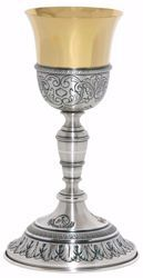 Picture of Liturgical Chalice H. cm 20 (7,9 inch) corolla shape with Leaves IHS Symbol in chiseled brass Gold Silver for Holy Mass Altar Wine