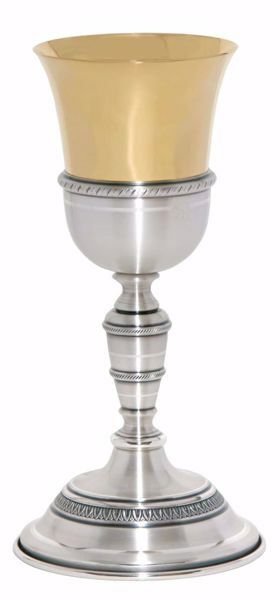 Picture of Liturgical Chalice H. cm 25 (9,8 inch) corolla shape lathed foot in brass Gold Silver for Holy Mass Altar Wine