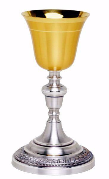 Immagine di Calice liturgico H. cm 23 (9,1 inch) con Nodo base decorata in ottone Oro Argento da Altare per vino da Messa