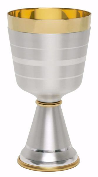 Picture of Liturgical Chalice H. cm 16,5 (6,5 inch) smooth satin modern style in brass Gold Silver for Holy Mass Altar Wine