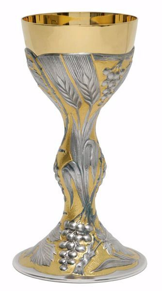 Picture of Liturgical Chalice H. cm 22 (8,7 inch) Ears of Wheat Grapes in chiseled brass Gold Silver Bicolor for Holy Mass Altar Wine