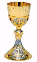 Immagine di Calice liturgico H. cm 24 (9,4 inch) IHS Pax Swarovski Rossi in ottone Bicolor da Altare per vino da Messa