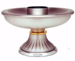 Picture of Altar Candlestick H. cm 8,5 (3,3 inch) decorated base in brass Gold Silver liturgical Candle Holder for Church