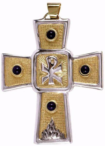 Immagine di Croce pettorale episcopale cm 9x7 (3,5x2,8 inch) Simbolo Chrismon Lapislazzuli in Argento 800/1000 Bicolor Croce vescovile