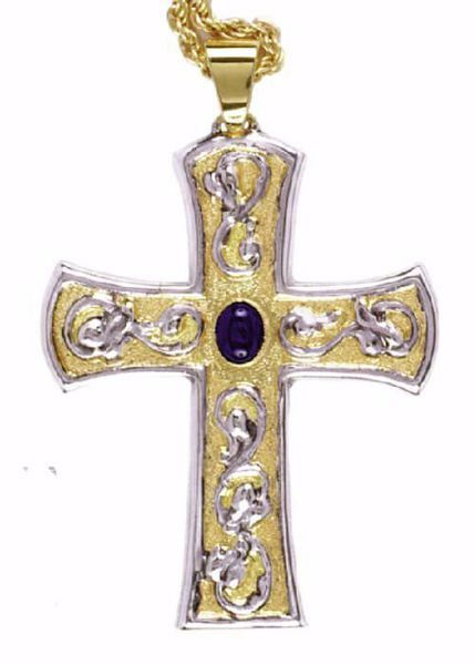 Picture of Episcopal pectoral Cross cm 9x7 (3,5x2,8 inch) Lapis Lazuli in 800/1000 Silver Bicolor Bishop's Cross