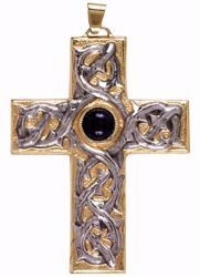 Picture of Episcopal pectoral Cross cm 9x7 (3,5x2,8 inch) Crown of Thorns and Lapis Lazuli in 800/1000 Silver Bicolor Bishop's Cross