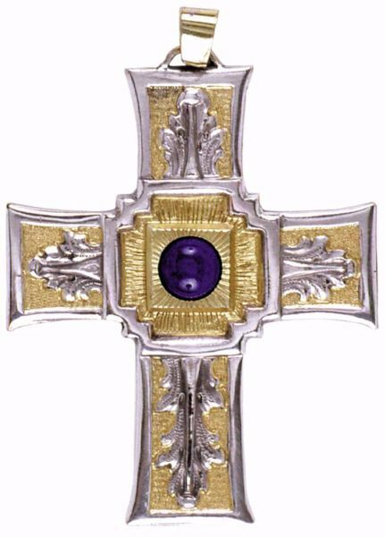 Picture of Episcopal pectoral Cross cm 9x7 (3,5x2,8 inch) with Lapis Lazuli and Decorations 800/1000 Silver Bicolor Bishop's Cross