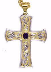 Imagen de Cruz pectoral episcopal cm 9x7 (3,5x2,8 inch) Lapislázuli de latón Bicolor Cruz para Obispo