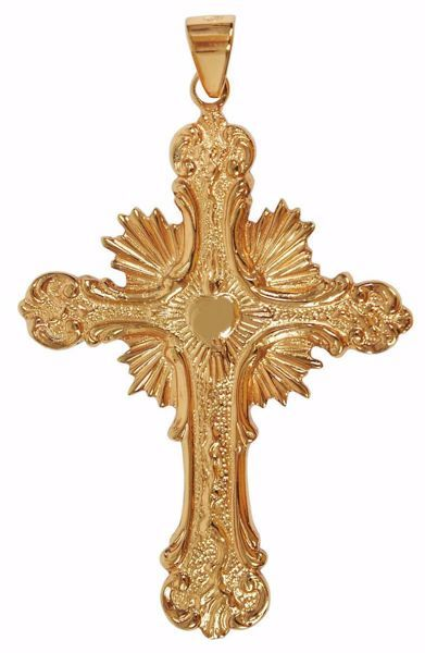 Picture of Episcopal pectoral Cross cm 10x6 (3,9x2,4 inch) Sacred Heart Rays of Light 800/1000 Silver Gold Silver Bicolor Bishop's Cross