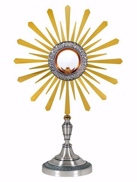 Imagen de Custodia litúrgica con luneta H. cm 52 (20,5 inch) Ramas de Uva Rayos de Luz de latón Plata Ostensorio Santísimo Sacramento Iglesia