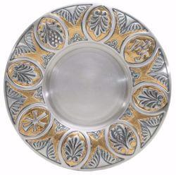 Immagine di Patena eucaristica Diam. cm 18,5 (7,3 inch) JHS Pax in Argento 800/1000 Argento Bicolor