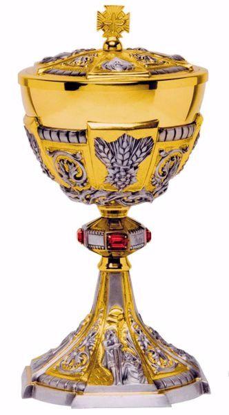 Immagine di Pisside liturgica H. cm 27 (10,6 inch) stile Barocco Spighe Corona di Spine e Swarovski Rossi ottone Coppa in Argento 800/1000 Bicolor