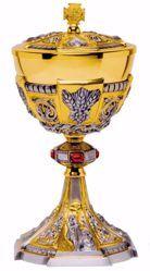 Imagen de Copón litúrgico Ciborio H. cm 27 (10,6 inch) Barroco Espigas Corona de Espinas Piedras Swarovski Rojas de Plata 800/1000 Bicolor