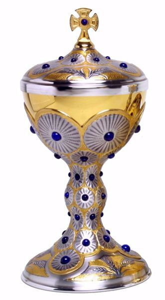 Picture of Liturgical Ciborium H. cm 28,5 (11,2 inch) Ears of Wheat Rays of Light Lapis Lazuli in 800/1000 Silver Bicolor