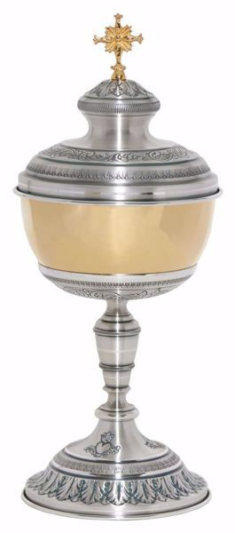 Picture of Large Liturgical Ciborium H. cm 35 (13,8 inch) corolla shape with Leaves Sacred Heart in chiseled brass Gold Silver