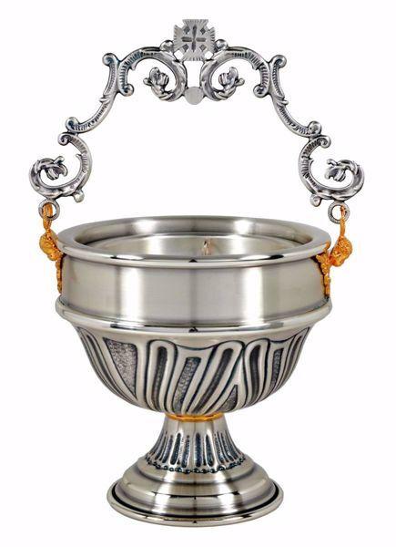 Imagen de Acetre para Agua Bendita H. cm 13 (5,1 inch) Nudo pequeño de latón cincelado Oro Plata Calderillo litúrgico sítula