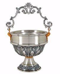 Imagen de Acetre para Agua Bendita H. cm 13 (5,1 inch) Hojas de latón cincelado Oro Plata Calderillo litúrgico sítula