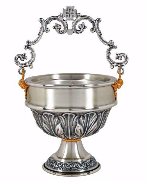 Immagine di Secchiello Acqua Benedetta H. cm 13 (5,1 inch) Foglie in ottone cesellato Oro Argento Situla per Benedizione Acqua Santa