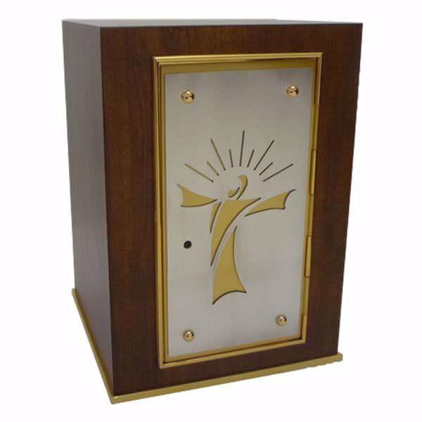 Immagine di Tabernacolo da Mensa cm 30x30x43 (11,8x11,8x16,9 inch) stile moderno Cristo stilizzato in Legno Ciborio da Altare Chiesa