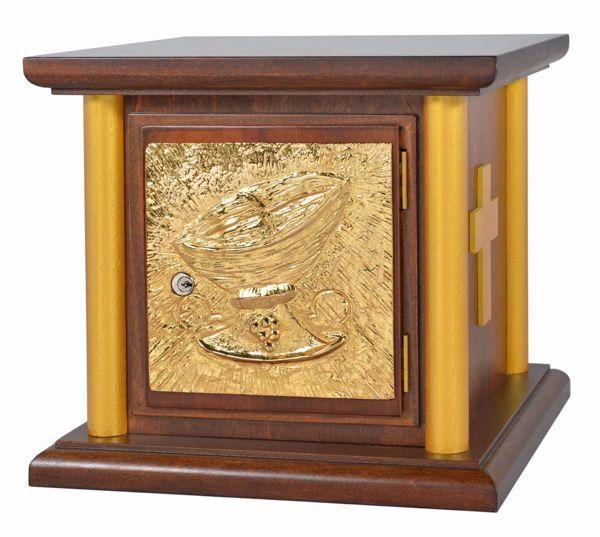 Immagine di Tabernacolo da Mensa con Colonne cm 35x35x33 (13,8x13,8x13,0 inch) Cesto di Pane in legno Oro Ciborio da Altare Chiesa