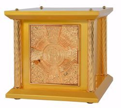 Picture of Small size Altar Tabernacle 4 Columns cm 33x33x31 (13,0x13,0x12,2 inch) Cross IHS Rays of Light in wood Gold for Church