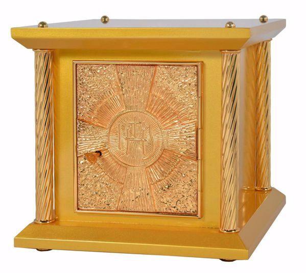 Immagine di Tabernacolo da Mensa piccolo 4 Colonne cm 33x33x31 (13,0x13,0x12,2 inch) Croce IHS Raggi di Luce in legno Oro Ciborio da Altare Chiesa