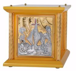Picture of Small size Altar Tabernacle 4 Columns cm 33x33x31 (13,0x13,0x12,2 inch) Boat Grapes Ears of Wheat in wood with bicolor Door Bicolor