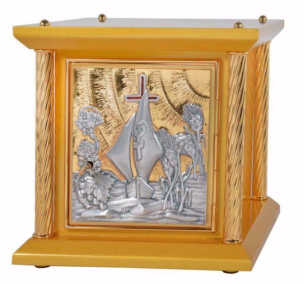 Immagine di Tabernacolo da Mensa piccolo 4 Colonne cm 33x33x31 (13,0x13,0x12,2 inch) Barca Uva Spighe in legno Porta bicolore Ciborio da Altare
